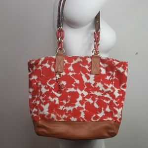 Shelly red/white canvas purse leather straps